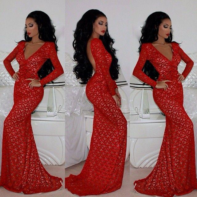 Red lace prom dresses tumblr elegant