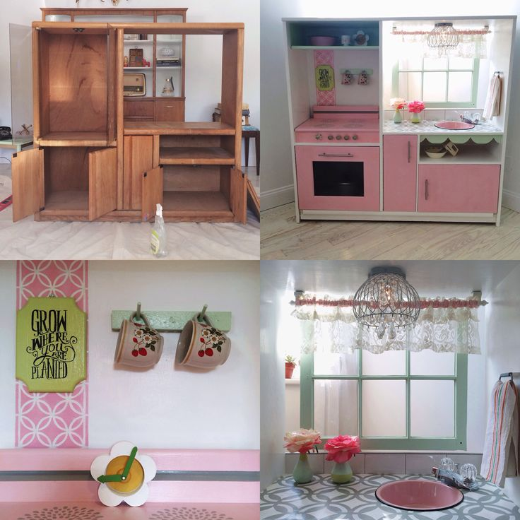 Diy play kitchen from entertainment center.