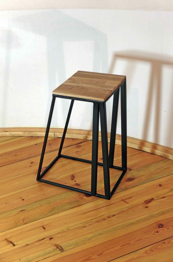 Stool, wooden, iron, wave, Kraina ES  #stool, #minimalism, #table, #industrial, #designstyle, minimal stool, #krainaes, #handcraft, #craft, #taboret, #stołek, #krzesełko, #krzesło, #minimalizm, #minimal, #ręczniewykonany