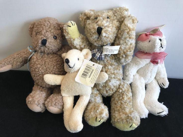 Lot Of 4 Teddy Bears Stuffed Animals Plush Brown Beige Tan White New  #Greenbrier