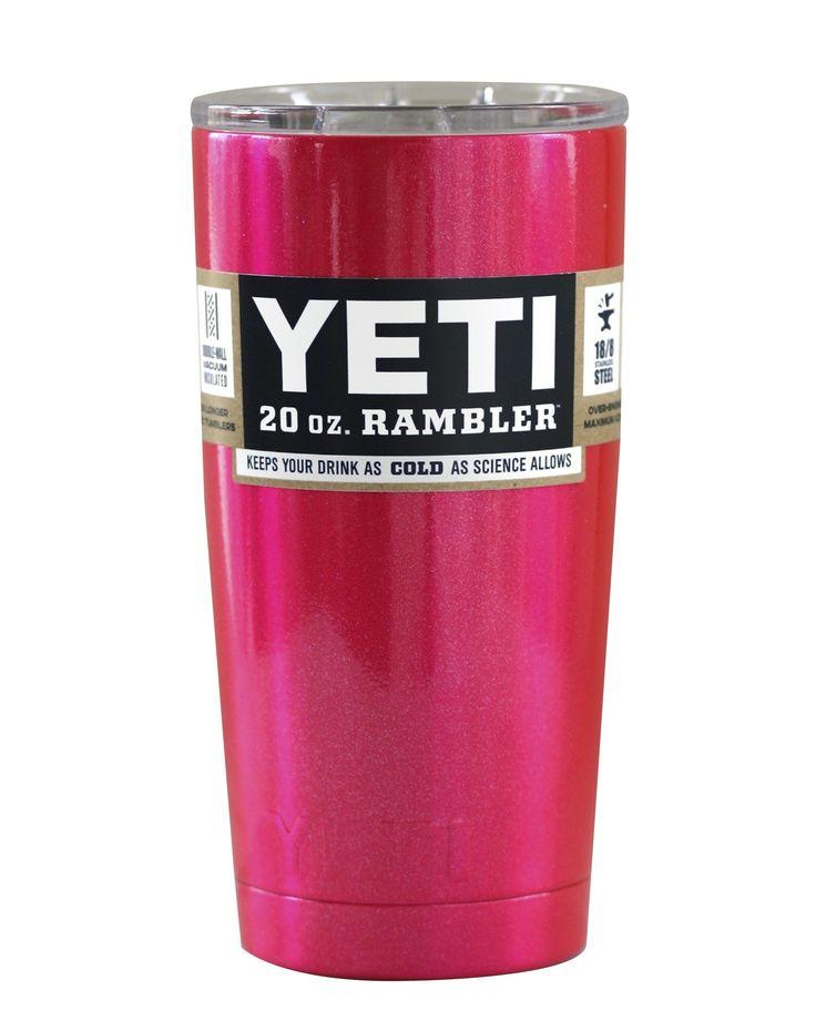 Fuchsia Pink Shimmer YETI 20 oz Rambler Tumbler Cup