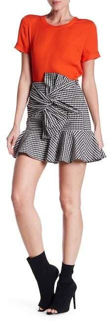 VERONICA BEARD Picnic Bow Gingham Print Mini Skirt