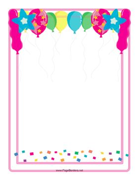 This festive balloon border features all different shapes, sizes, and colors of balloons, with a good portion of colorful confetti thrown in, all ready for a celebration. Free to download and print.