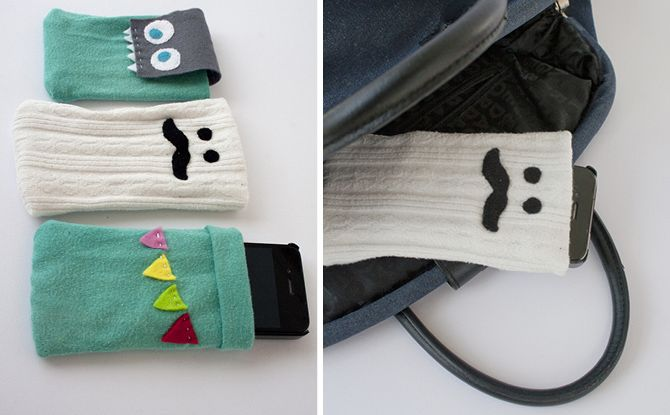 Phone cases made from recycled socks!! The possibilities are endless :)
