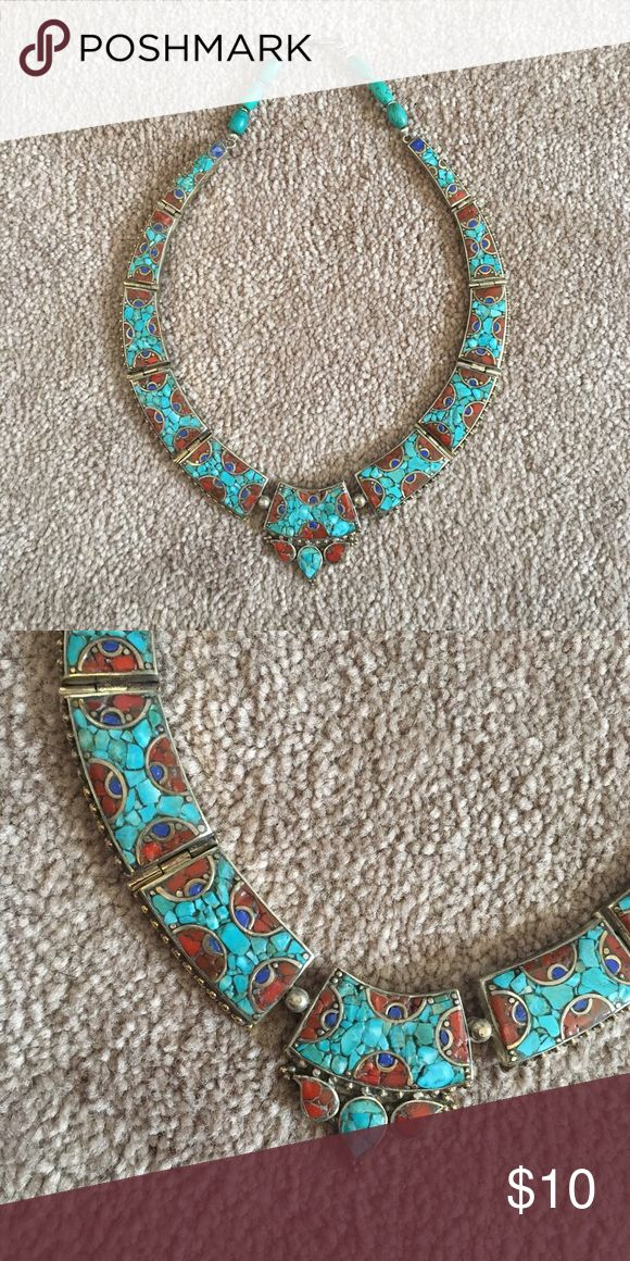 Turquoise and coral statement necklace Cute fashion necklace Jewelry Necklaces