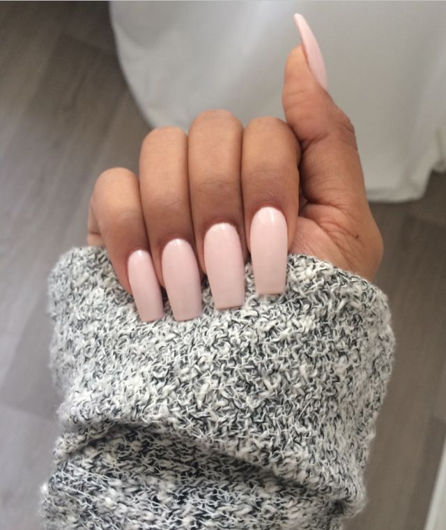 LOVE baby pink stiletto styled acrylics! Gorgeous way to incorporate colour with a simplistic dress
