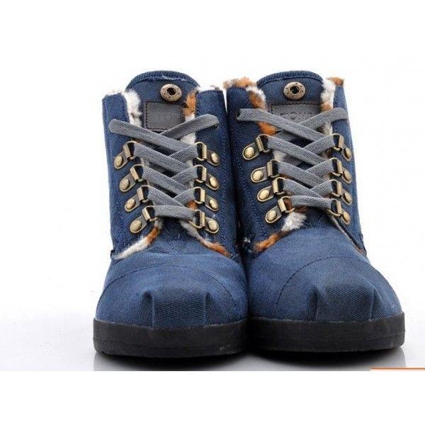 Special Price : $48.00 - Toms Highlands Blue Fleece Mens Botas in Toms Shoes Outlet Store