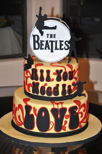 """This cake was for a bridal shower that had a """"Beatles, All you need is love"""" theme."""