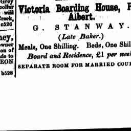 Advertisement for G Stanway, Victoria Boarding House. Gippsland Guardian, 21 Jun 1861, p. 1, 'Advertising'.