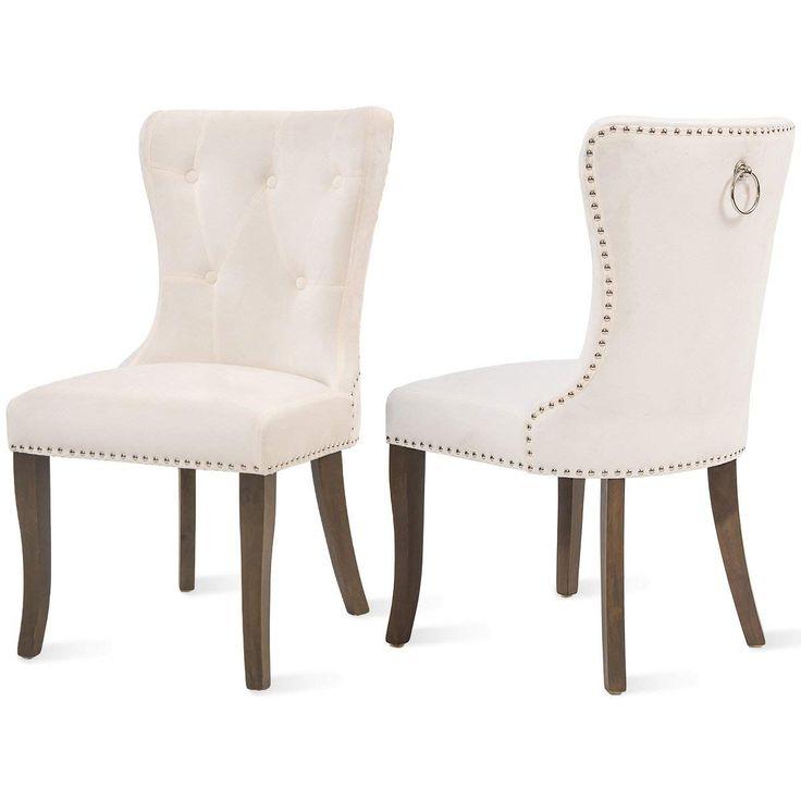 Cozywell dining chair set of 2 white velvet tufted dining