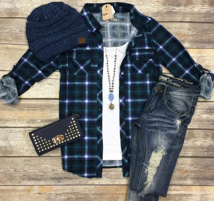 Penny Plaid Flannel Top: Navy/Green from privityboutique