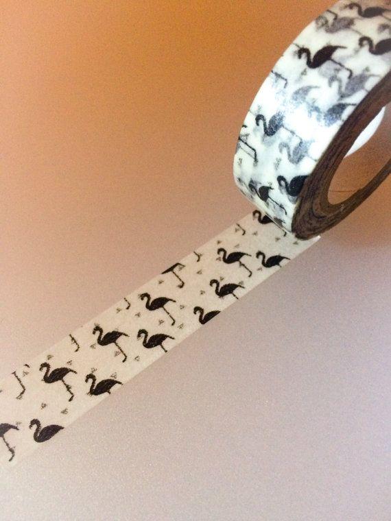 Japanese Washi Tape : Black and White Flamingos by PasoKuma