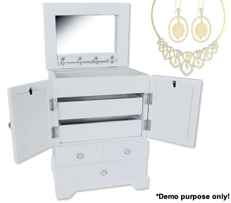 Stunning white jewellery box with 4 drawers. Photo holders on the front door panels. Super cool!  $46.95