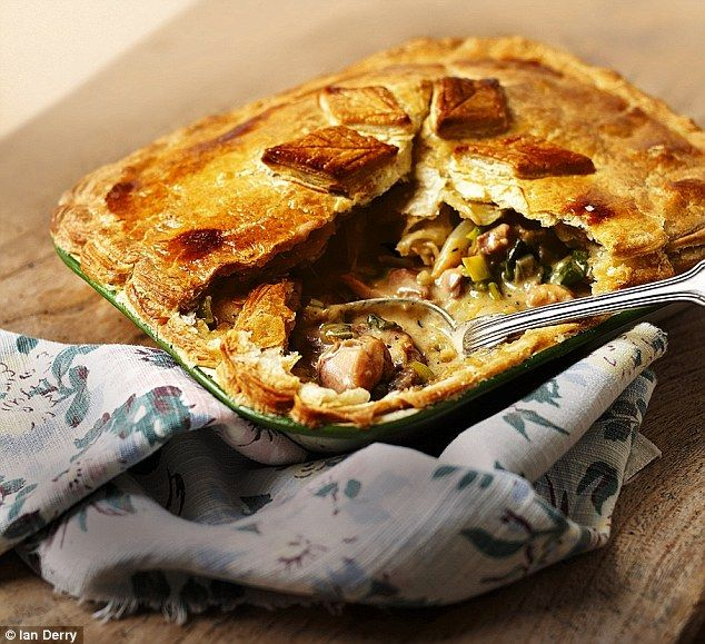 Chicken & Leek Pie with Sage & Thyme.  (substitute using ready-made pie crust)