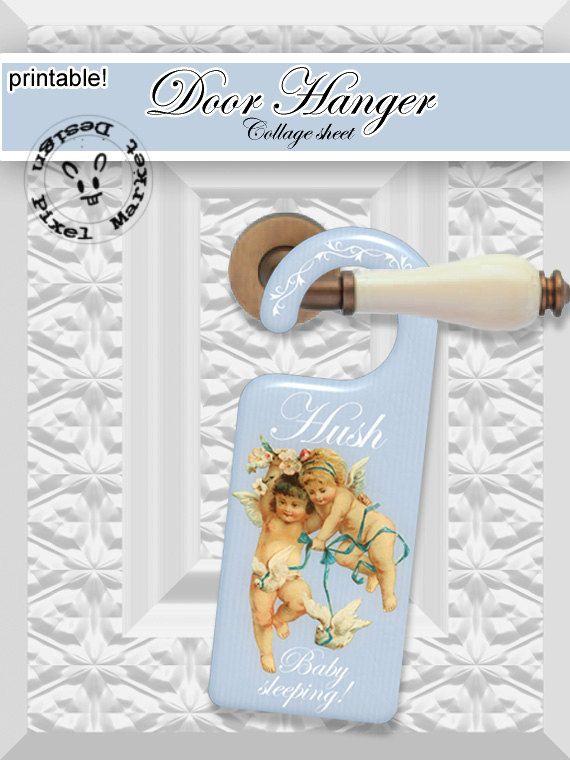 Printable DOOR KNOB HANGER Template Hush baby by pixelmarket, €3.50