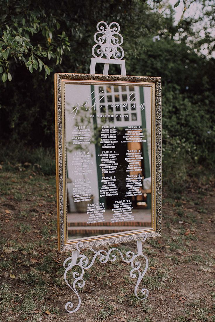 Beautiful Reception Table Placement Chart ideas: Use a mirror as your canvas.