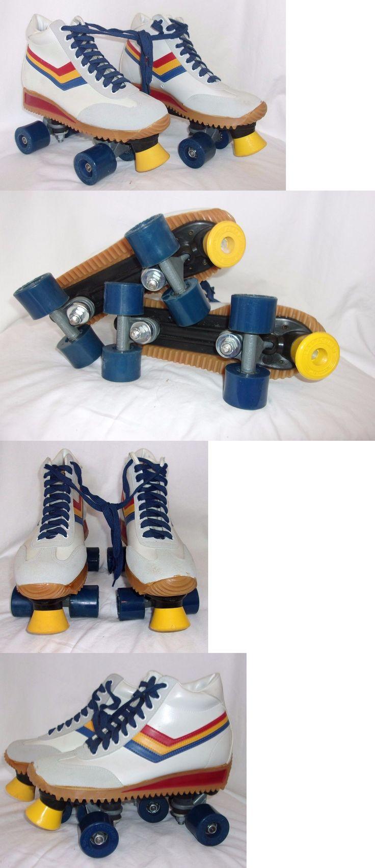 Roller skates in the 70s - Indoor Roller Skating 165938 Nos Vtg 70s Free Former White Quad Boot Roller Skates Rainbow