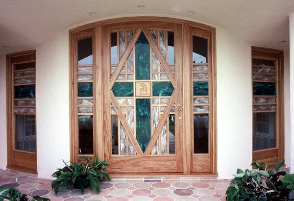 modern southwest decor   Contemporary Southwest-style entry door in solid hickory with hand ...