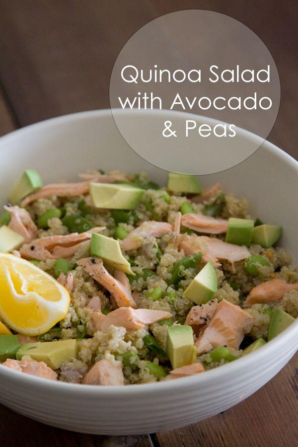 Quinoa Salad with Avocado and Peas.