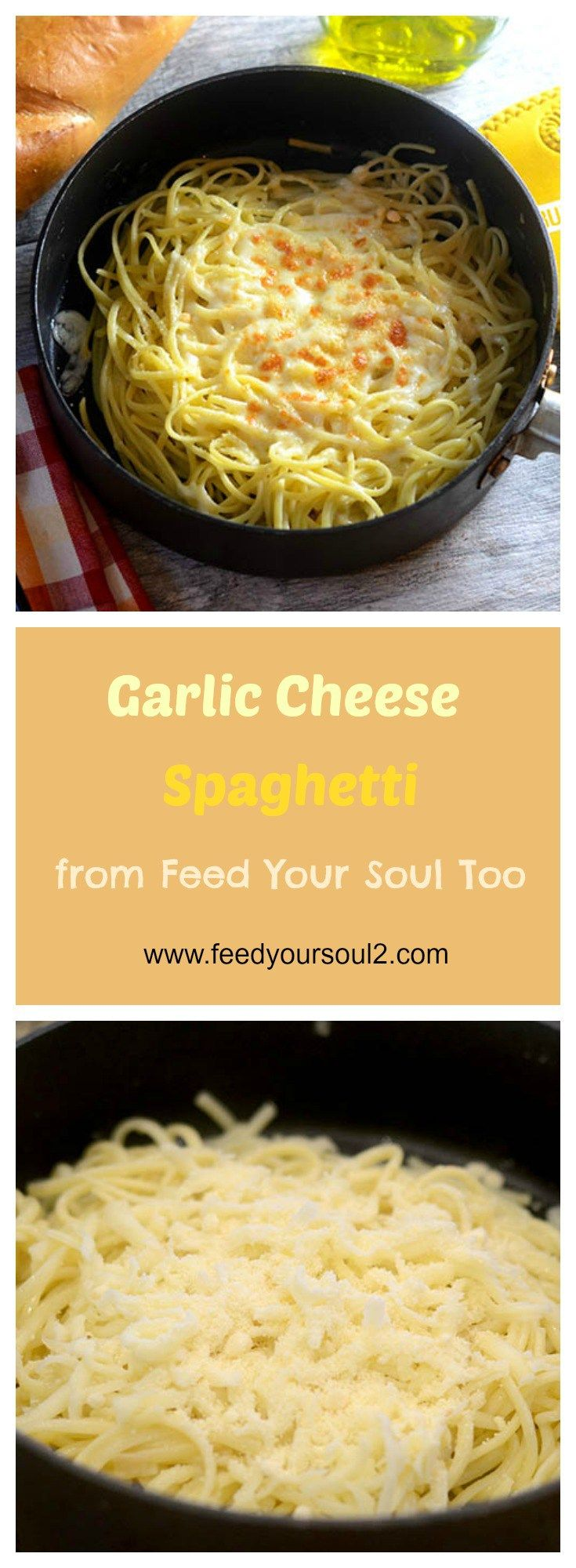 Garlic Cheese Spaghetti from Feed Your Soul Too
