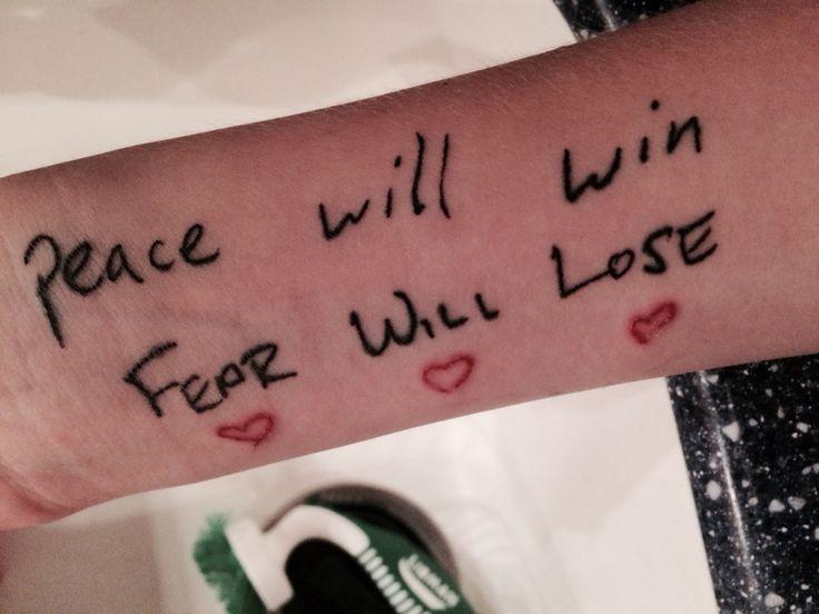 Twenty One Pilots tattoo-- peace will win, fear will lose ...