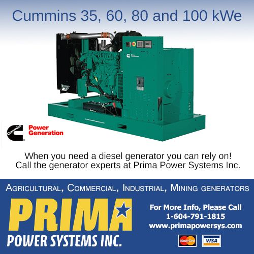 Cummins Power Generation commercial generator sets are fully integrated power generation systems providing optimum performance, reliability and versatility for stationary applications. Please contact us for more information 604-791-1815