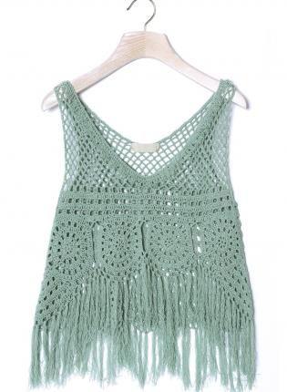 Mint Green Hand Knit Sleeveless Crochet Crop Top,  Top, crochet top  sleeveless  sheer, Bohemian (Boho) / Hippie