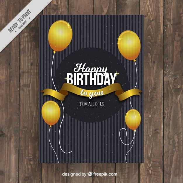 Elegant birthday card with golden globes Free Vector