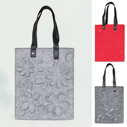 felt #plain tote bag# with PU strap, hollow out flower pattern #shopping bag#.