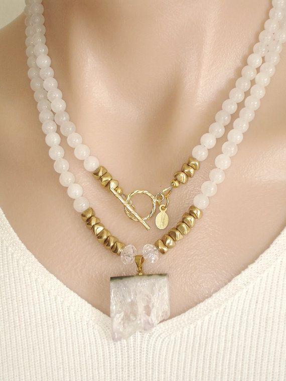 Ashira White Jade Gemstone Necklace with GF Toggle and Beautiful Amethyst Druzy Crystal Pendant