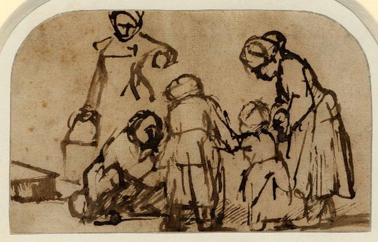 Rembrandt's drawing of a child learning to walk