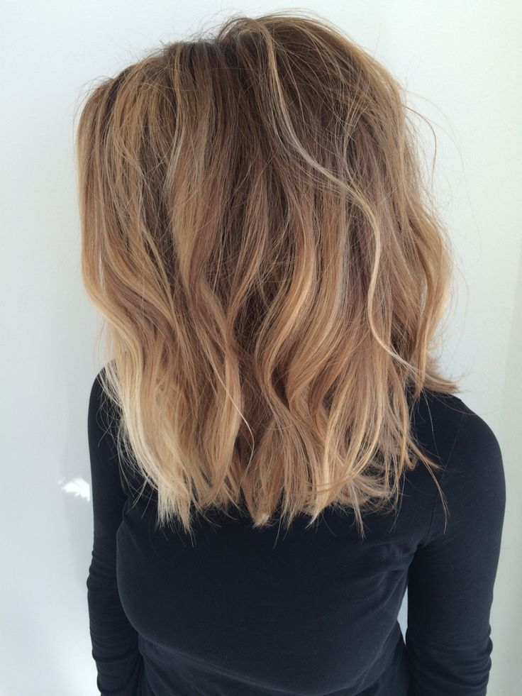 We love the lob! | Long blunt wavy textured bob with Balayage highlights and lowlights done at Dyer and Posta Salon!