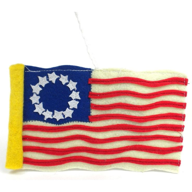Global Crafts Handmade Felt Colonial American Flag Ornament (Kyrgyzstan), White/Blue Yellow/Red white/ blue yellow/ red (felt wool)
