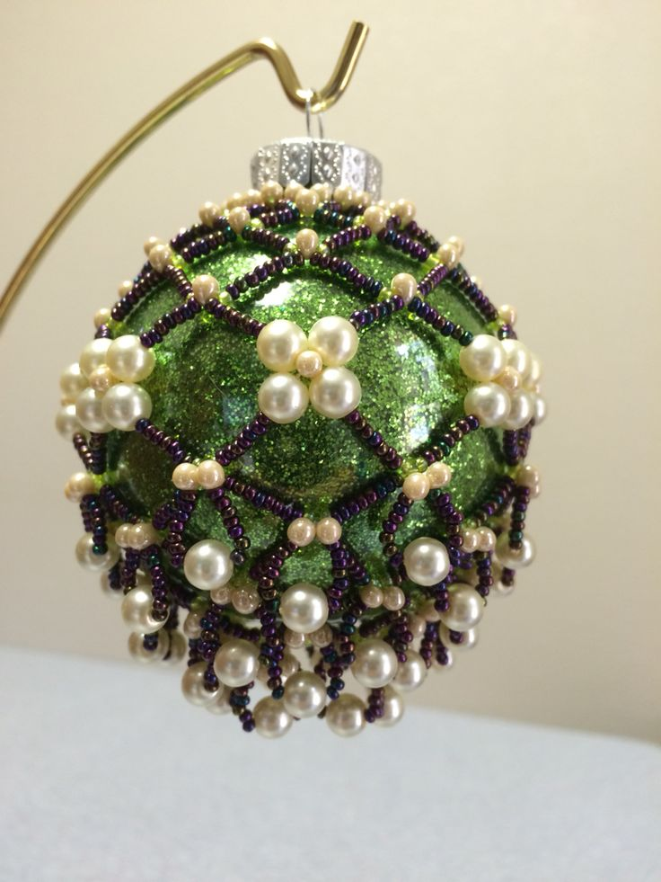 Beaded Ornament Cover -using fizzy festive champagne pattern by Cathy Lampole. Made Oct 2014.