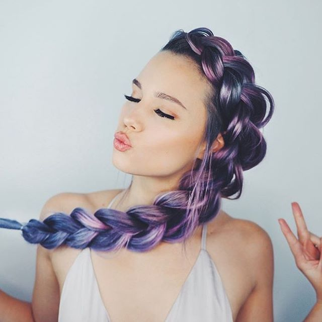 purple ombre hair | blue | pastel | side braid | beautiful | hair wigs | extensions | lilac