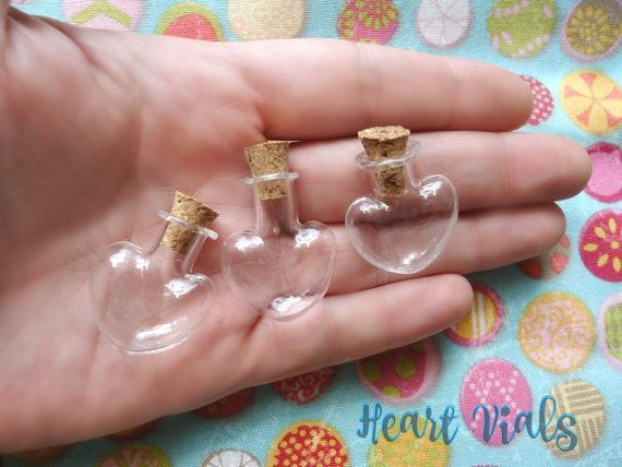 6 Miniature Heart Shape Glass Bottles  Clear Glass by ShopToCreate