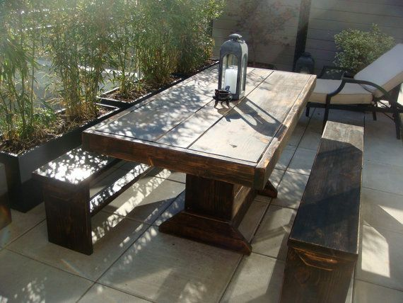 Patio set / wood patio set / table bench set by ModernRust on Etsy, $729.00