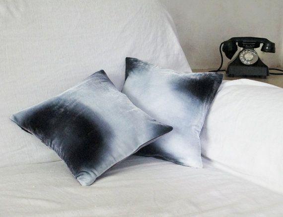 Black and gray velvet small cushions/pillows 'moon
