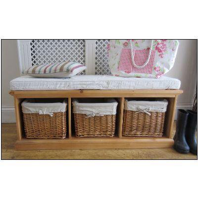Tetbury Hallway Storage Bench Hallway Wicker Baskets Shoe