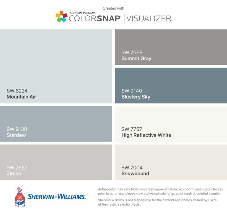 My 2018 Farmhouse colors by Sherwin-Williams: Mountain Air (SW 6224), Stardew (SW 9138), Zircon (SW 7667), Summit Gray (SW 7669), Blustery Sky (SW 9140), High Reflective White (SW 7757), Snowbound (SW 7004).