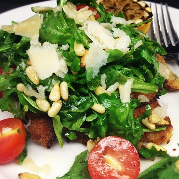 Chicken Milanese with Baby Arugula, Toasted Pine Nuts, Grape Tomatoes ...