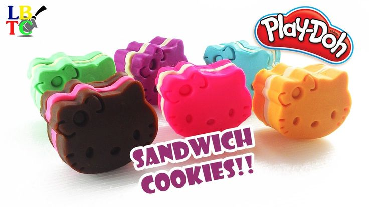 Play Doh Rainbow Hello Kitty Sandwich Cookies - Learn Colors Modelling Clay
