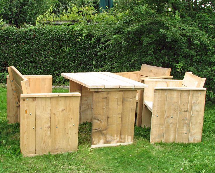 Tuinset steigerhout: bank, 2 zetel en tafel