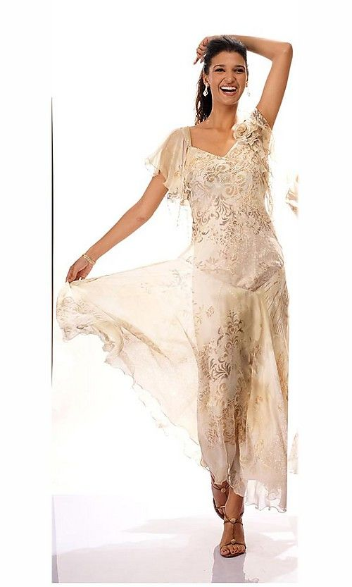Gold Tea Length Mother of The Bride Dress   Dresses for Mother Of The Bride 2013