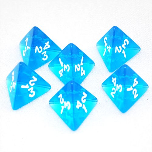 Transparent Blue and White 4 Sided Dice