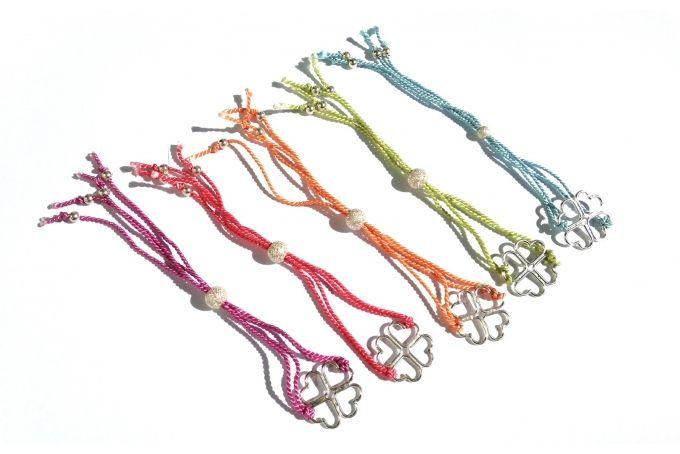 Silk Bracelets with Silver Hearts by emma anne