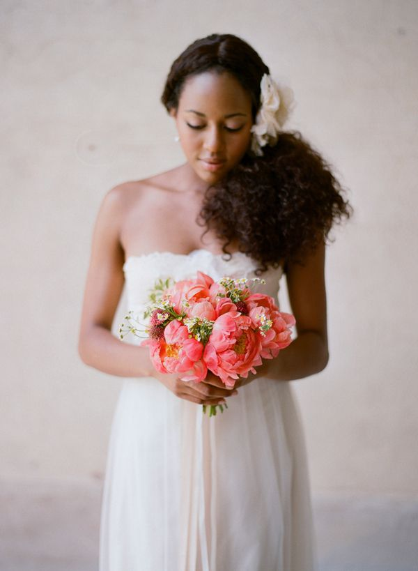 coral peony bouquet and claire pettibone wedding dress // photo by elizabeth messina