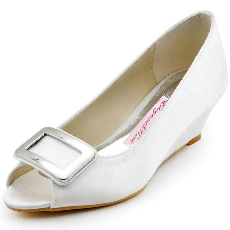 """Neue Design WP1401 Elegante Weiße Peep Toe 2 """"Keil Ferse Quadratischer Schnalle Satin Hochzeit Frauen Abendgesellschaft Schuhe //Price: $US $46.99 & FREE Shipping //     #clknetwork"""
