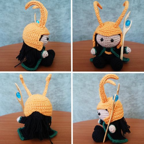 Edited 23.7.2012 to add info about Loki's staff. Edited 8.9.2012 to correct a small error in leg measurements. Edited 10.10.2013 to add hook and yarn information. Basic shape of this amigurumi is...