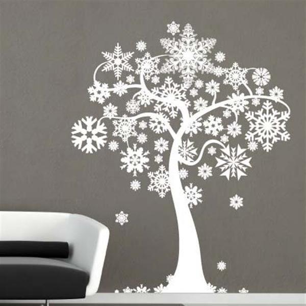 Creative christmas wall stencil and wall stickers decorating ideas girls bedroom ideas - Stencil parete albero ...